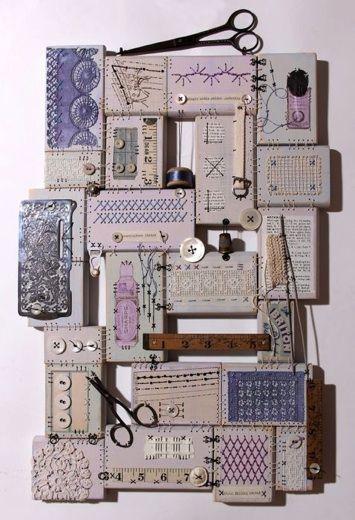 Textile Artist Edinburgh. Assemblage of vintage haberdashery.