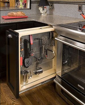 Pull out drawer to disguise kitchen clutter