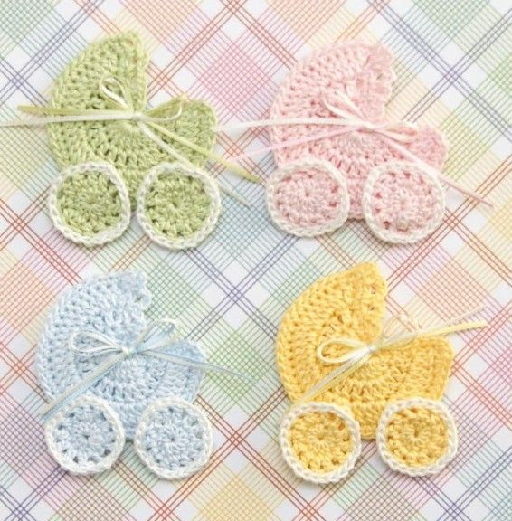 [Video Tutorial] Beautiful Crochet Baby Shower Carriage Favor Applique    Http://