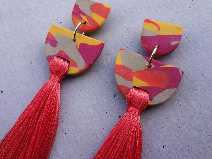 Tassel Earring - Tangerine / Tassel Earrings / Polymer Clay Earrings / Stud Earrings by thesleeplesscreative on Etsy