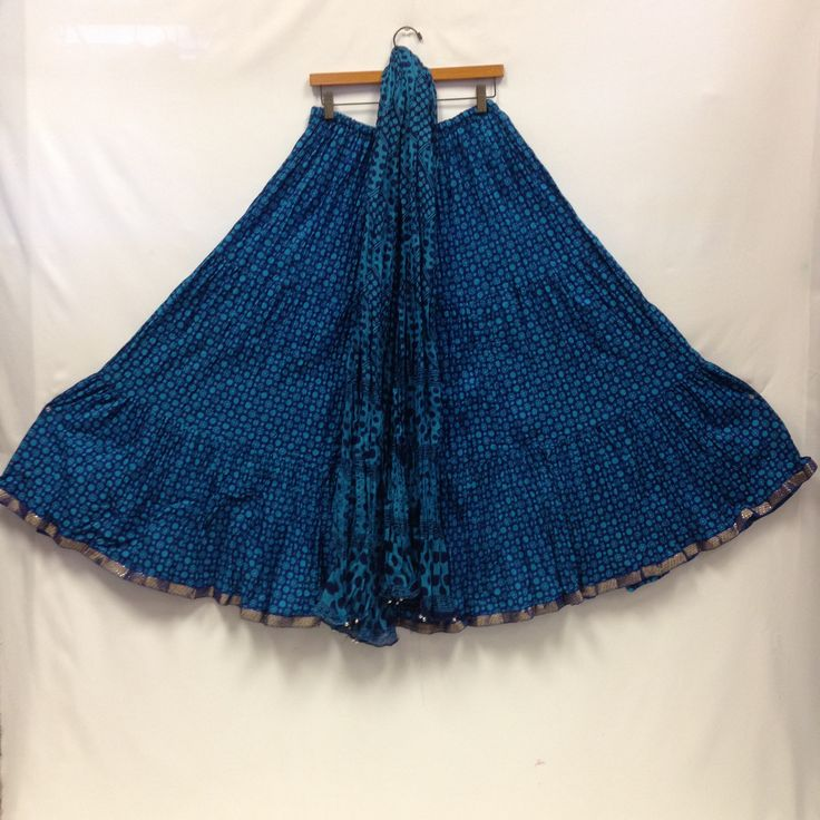 Lehenga Skirt with Dupatta - Blue