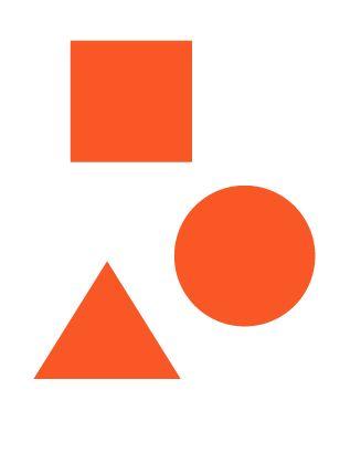 Je ziet hier allemaal geometrische vormen. De het rondje is precies rond en de lijnen zijn helemaal recht.