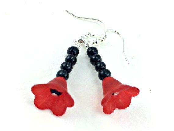 Rockabilly Kitsch Red Bloom Black Bead Earrings by KitschBride