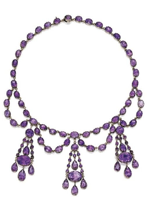 Gold and Amethyst Necklace, late 19th century. The festoon-style necklace suppor...