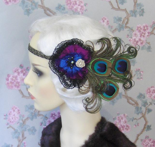 Peacock Feather Silk Flapper Headband.