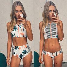 Impressão Floral palmeira Bikini set, Alta Neck tanque Zipper Swimsuit listrado acolchoado Bra cintura alta Swimwear banho Vintage Suit(China (Mainland))