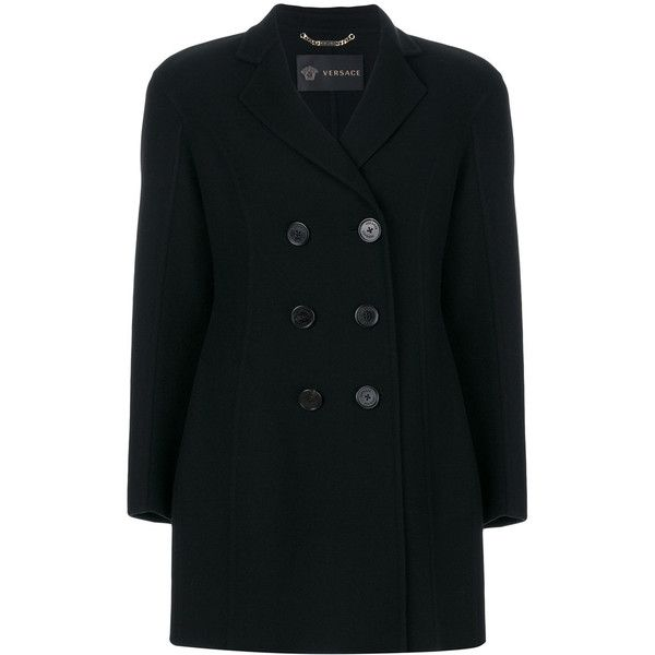 Versace double breasted coat ($2,695) ❤ liked on Polyvore featuring outerwear, coats, black, long sleeve coat, patterned coat, versace coat, double breasted coat and versace