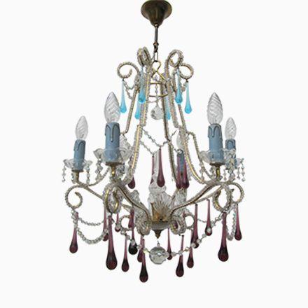 Vintage Italienischer Vintage Kristall Kronleuchter mit Leuchten Glasperlen Jetzt bestellen unter https moebel ladendirekt de lampen deckenleuchten