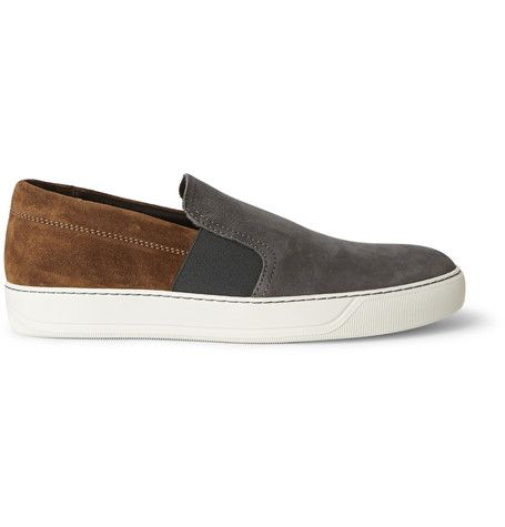 Lanvin Nubuck and Suede Slip-On Sneakers | MR PORTER