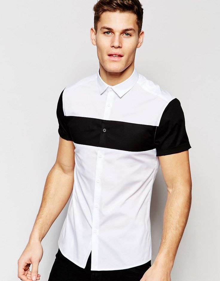 Asos Skinny Shirt With Cut And Sew Chest Panel Men 39 S