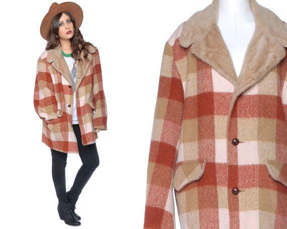 Plaid Jacket 70s Wool Fur Collar Coat by GravelGhostVintage