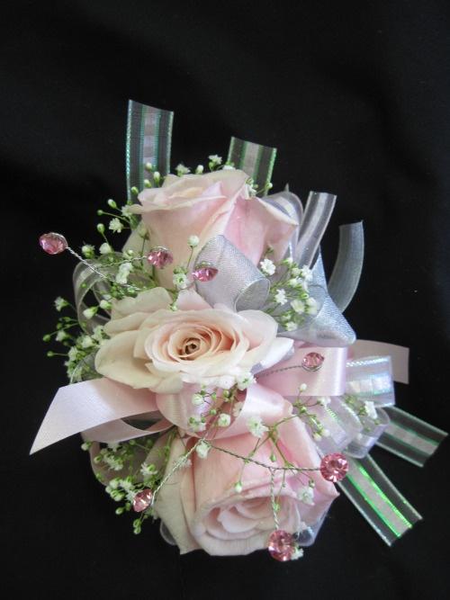 Pale pink wrist corsage