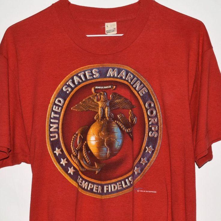 Vintage 1988 Screen Stars US Marine Corps Military Semper Fidelis T Shirt Large | eBay!