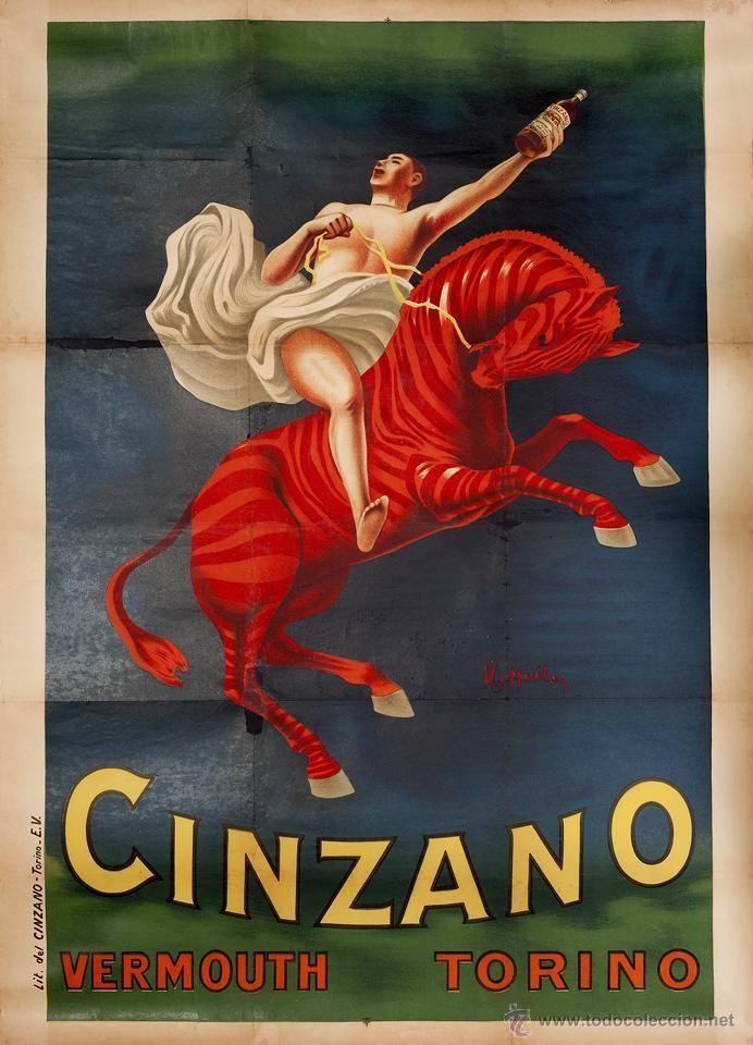 Cartel antiguo en todocoleccion: CARTEL ORIGINAL VERMOUTH CINZANO ILUSTRADA POR LEONETTO CAPPIELLO LAS MEDIDAS SON 140 X 100 CMTS