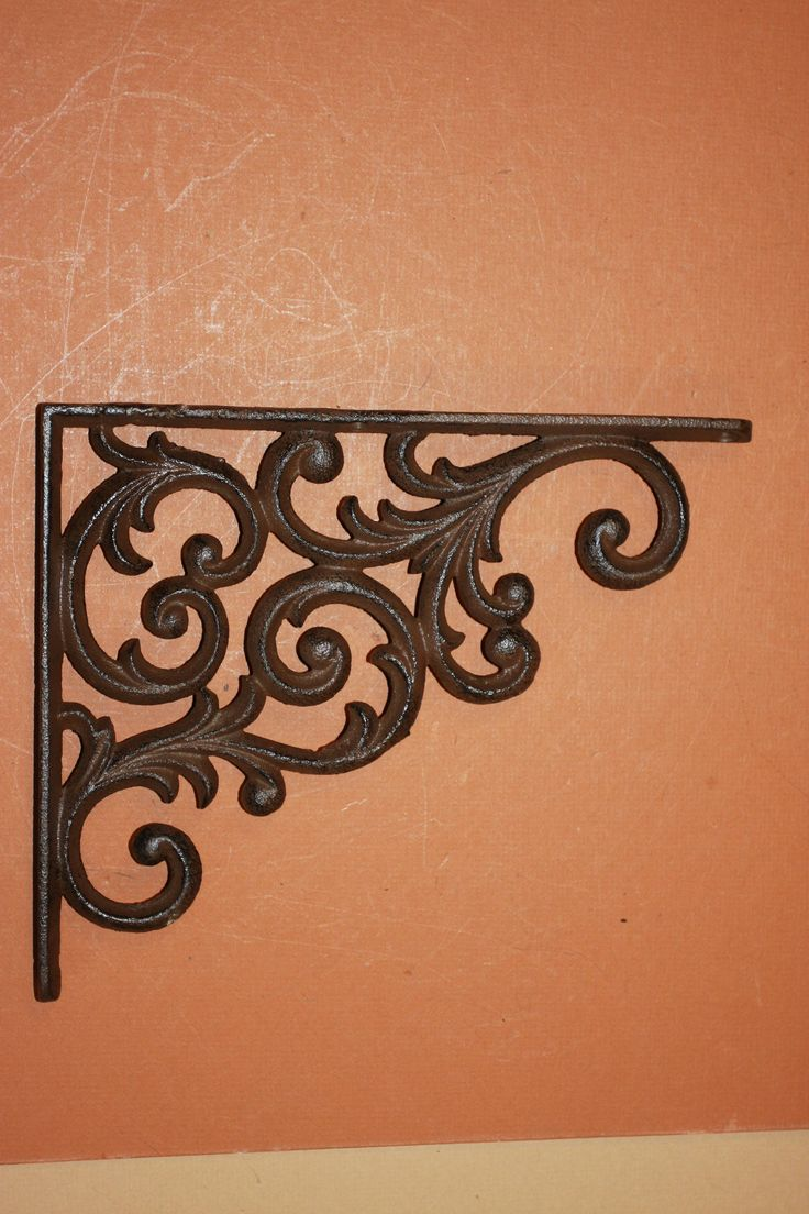 Elegant Country Design, Decorative Shelf Brackets, 9 1/4 inch, Solid Cast Iron, 3-D, Victorian Design Shelf Brackets,Free Ship,B-23 by WePeddleMetal on Etsy
