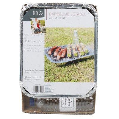 Kit barbecue jetable prêt à l'emploi, avec bouteille d'eau.<br>Aluminium, dim. 7x12x21 cm.