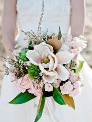 magnolias and roses   wedding bouquet