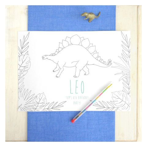 Children's Personalised Dinosaur Colour In Place Mat