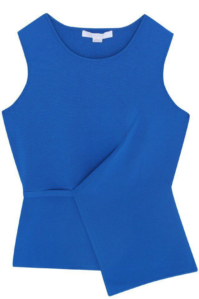 Blue folded top.