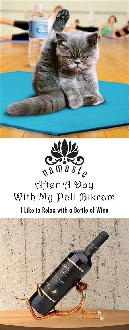 After a long hard yoga session there is nothing better than relaxing in your favorite chair with a glass of wine. This yoga cat wine bottle holder has you covered! So cute! #namaste, Bikram, cat pose