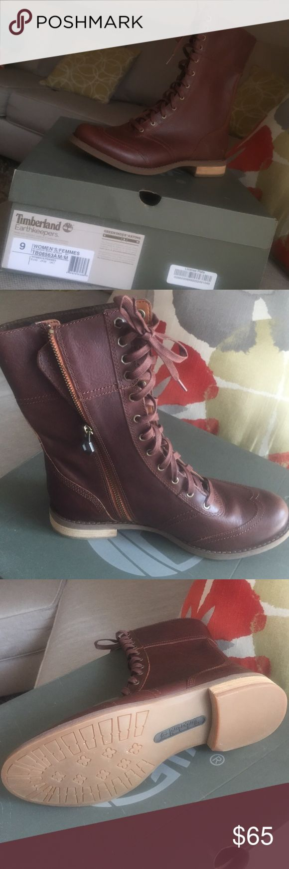 Women's Timberland Boot Brown, long ankle boot. NEVER WORN, one scuff mark, and a side zipper Timberland Shoes Winter & Rain Boots
