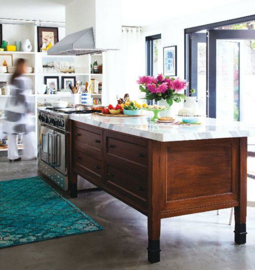Home Styles The Orleans Kitchen Island With Marble Top: Love The Divided Island And The Colorful Rug