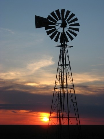 Nebraska has sunsets like this almost every night and mostly through the legs of a windmill...