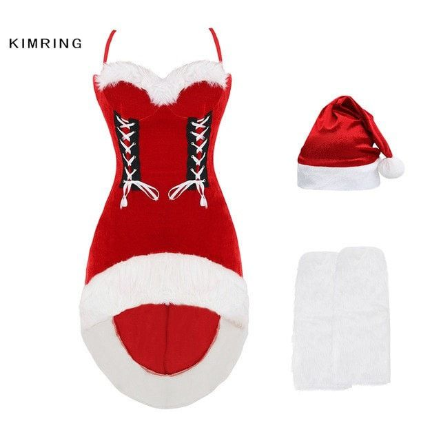 KIMRINGWOMEN CHRISTMAS COSTUMES SEXY RED CHRISTMAS DRESS SANTA CLAUS COSTUMES FOR ADULTS COSPLAYS FANCY DRESS CHRISTMAS COSTUMES
