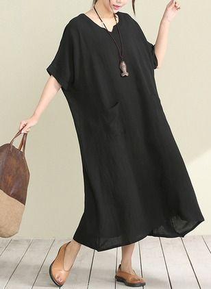 Algodão Reto Manga até a metade do braço Longuete Informal Vestidos de (1039743) @ floryday.com