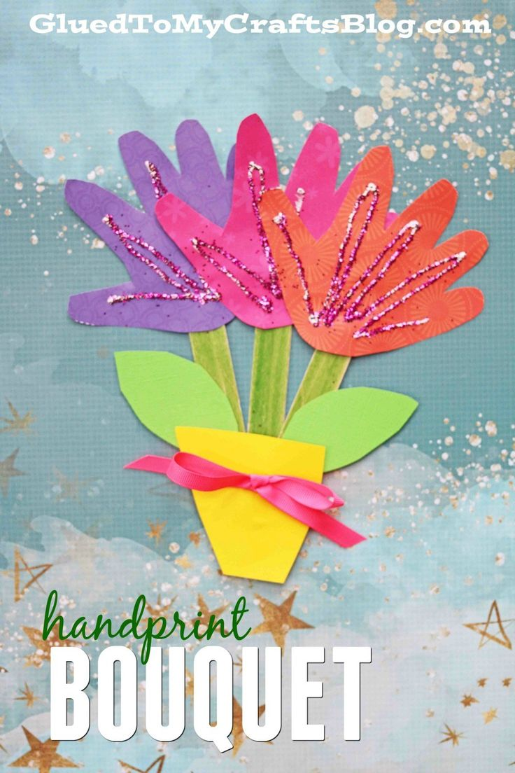 Handprint Flower Bouquet! A colorful and easy craft for kids to make this spring for  Mother's Day!