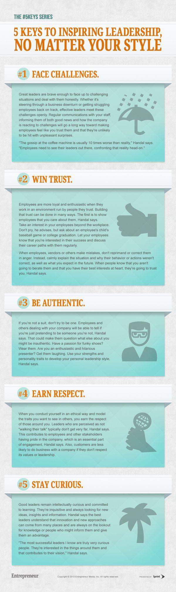 5 Keys to Inspiring Leadership, No matter your style #infographic #smallbiz #leadershipLanguage | Writing style | Grammar infographics