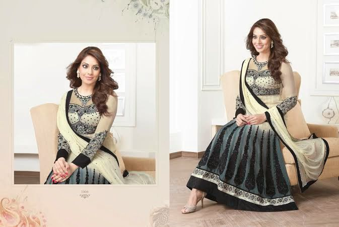Beautiful Grey and Beige Georgette anarkali With heavy work of embroidery en-crafted in Black all over. Matching Shantoon Bottom and Beige Chiffon Duppatta with black border and fine work of embroidery included.