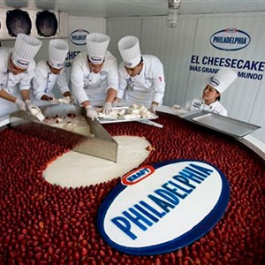 World's Largest Cheesecake: Stats:4,703 lbs  created by Philadelphia Kraft Foods Mexico on January 25, 2009