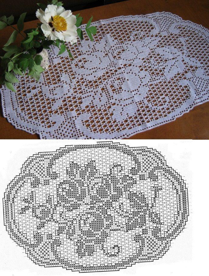 Decke oval rosen filet crochet pinterest deckchen - Housse de coussin 65 65 ...