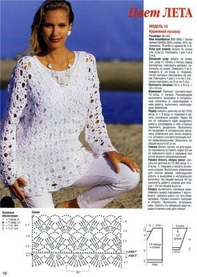 Openwork Blouse free crochet pattern - symbols only