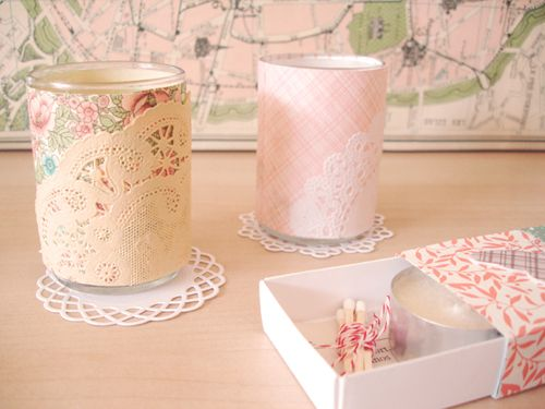 6. Lace - 10 Beautiful DIY Votive Candle Holders ... → DIY