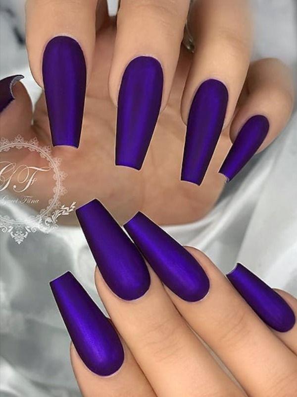 120 Best Coffin Nails Ideas That Suit Everyone Purple Acrylic Nails Coffin Shape Nails Acrylic Nail Art