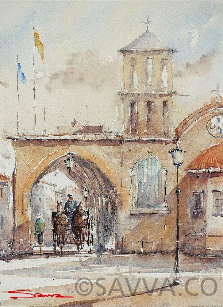 savva watercolour cyprus-saint lazaros church
