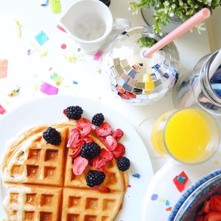 Brunch means all day doesn't it?! This is doing brunch right, waffles, berries, Disco Drink tumbler, and confetti! This is the exact brunch we wanna be at!!