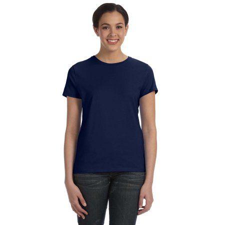 Hanes SL04 T-Shirt Ladies' 4.5 oz. Classic Fit Ringspun, Blue