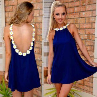 Vestido Casual Corto sin Mangas con Espalda Descubierta para Mujer-Azul con Blanco