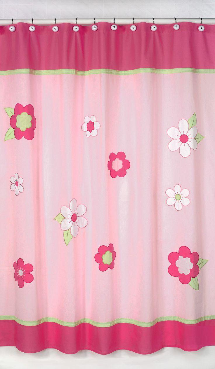 Flower Pink And Green Cotton Shower Curtain Kids Shower Curtain