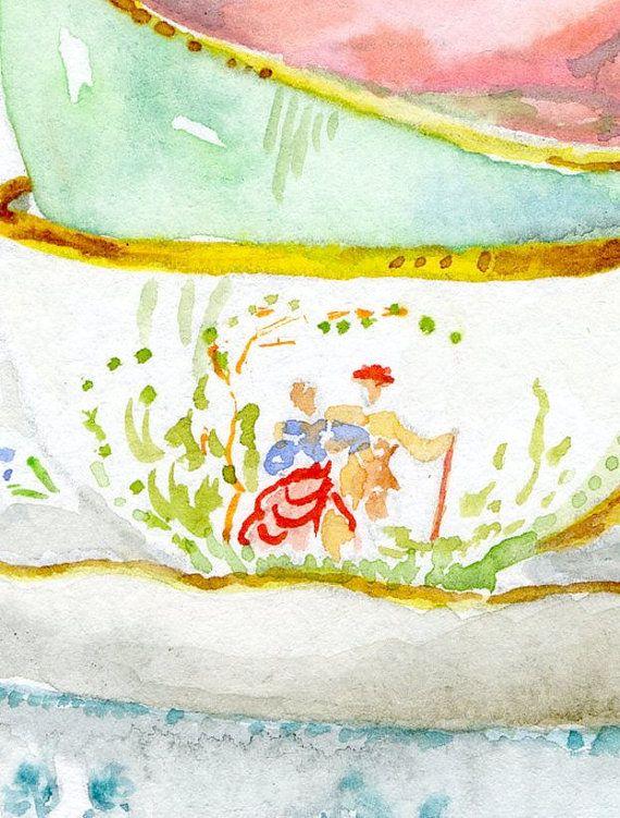 Stilleven keuken Decor afdrukken van originele aquarel. Vintage theekopjes.  Een afdruk van een van mijn originele aquarel schilderijen. Professioneel gedrukt op wit 250 gr zure vrije Fedrigoni oude molen kwaliteitspapier met subtiele het patroon dat het uiterlijk van het origineel behoudt. De kleuren zijn zeer rijk.  Papierformaat is A4 8.4x11.9 (21x29.7 cm) De afbeelding is kleiner verlaten een witte rand. Elke prent is ondertekend en gedateerd in de voorkant. Frame en niet inbegrepen…