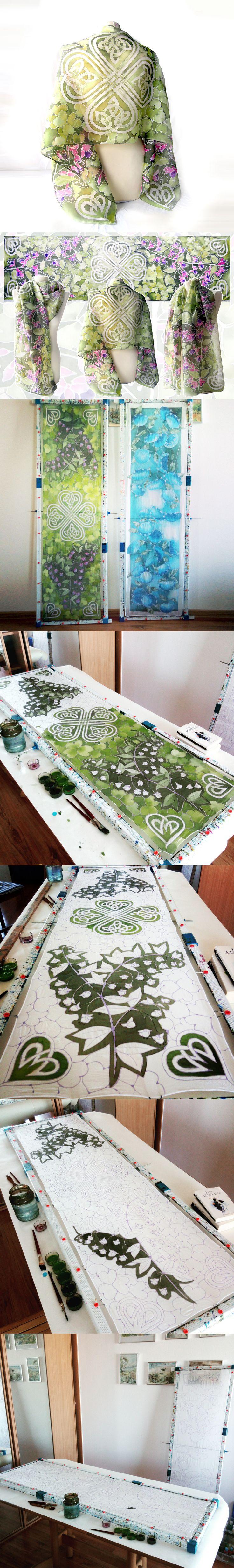Silk #scarf #shamrock #handpainted by Luiza #malinowska #minkulul #celtic #celticknot design on #green #scarves