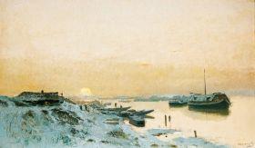 Mednyánszky László - Napfelkelte havas folyóparton, 1900 körül