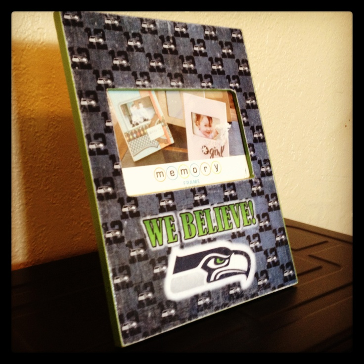 Decopoged Seahawks picture frame.