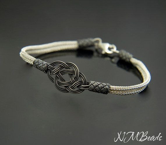 Fine Silver Celtic Love Knot Bracelet in Black by NMBeadsJewelry
