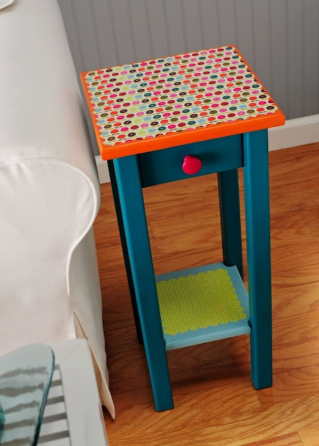 I found this endtable and took a before picture - dusty, kind of boring. The second photo is what I did to it! I hope you like it. Below are the instructions. I'd love to see any of your furniture re-dos, by the way. You know how I love them! Supplies and Tools FolkArt Acrylic Paint - Teal, Glazed Carrots, Magenta, Sky Blue Mod Podge Hard Coat Scrapbook paper o