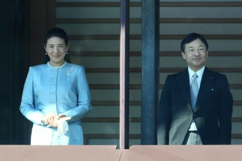 Noblesse et Royautés:  People's Greeting of the New Year, Imperial Palace, Japan, January 2, 2015-Crown Princess Masako and Crown Prince Naruhito