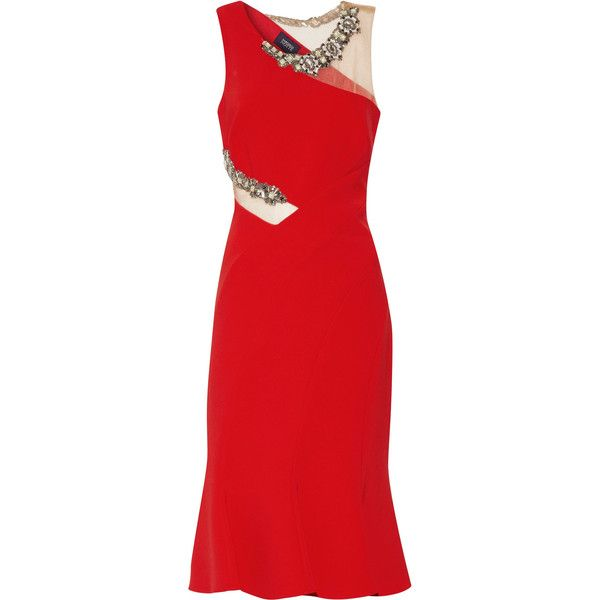 Marchesa Notte Embellished tulle-trimmed crepe dress (7,890 MXN) ❤ liked on Polyvore featuring dresses, marchesa, red, red cocktail dress, notte by marchesa dresses, multi color dress, red dress and embellished dress